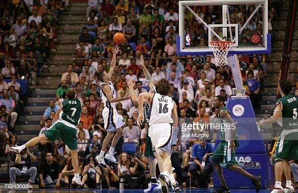 Juan Carlos Navarro of the Memphis Grizzlies drives against Daniel Santiago of Unicaja during the game during EA Sports NBA Europe Live Tour at...