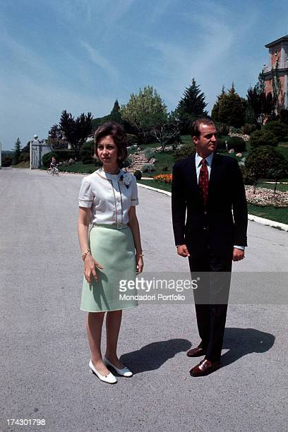 Juan Carlos of Spain and his wife Sofia of Greece in the park of villa La Zarzuela Madrid 1973