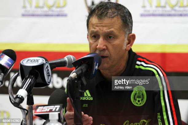 Juan Carlos Osorio addresses the media after the fifth round match between Trinidad Tobago and Mexico as part of the FIFA 2018 World Cup Qualifiers...