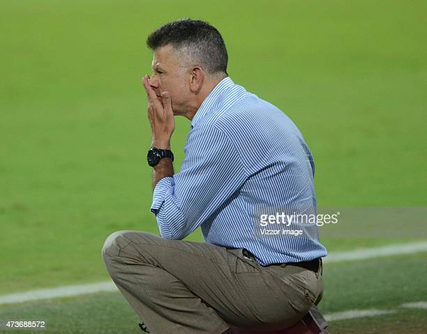Juan Carlos Osorio coach of Atletico Nacional looks the actions during a match between Atletico Nacional and Cucuta Deportivo as part of 20th round...