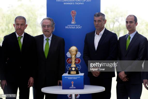 Juan Carlos Osorio coach of Mexican Soccer Team Decio de Maria president of Mexican Soccer Federation Sergio Goycochea Confederations Cup Ambassador...