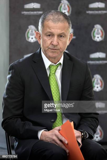 Juan Carlos Osorio coach of Mexican Soccer Team speaks during the visit of the FIFA 2017 Confederations Cup at Nueva Casa del Futbol on March 30 2017...