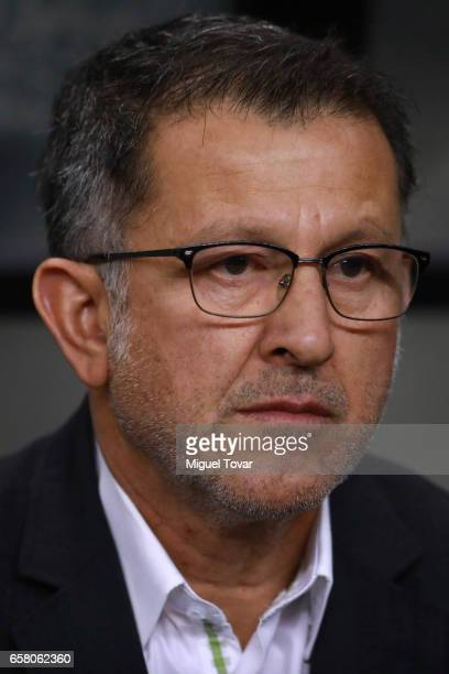 Juan Carlos Osorio coach of Mexico attends the anthem ceremony prior the fifth round match between Mexico and Costa Rica as part of the FIFA 2018...