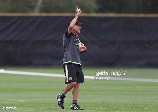 Juan Carlos Osorio coach of Mexico gestures during the Mexico National Team training session ahead of it's match against Jamaica at Colorado...