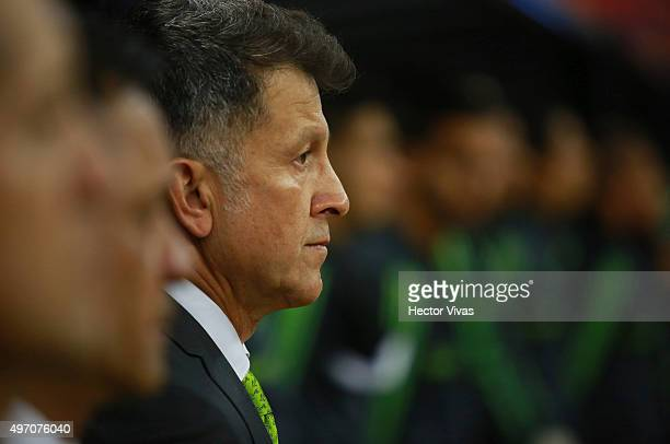 Juan Carlos Osorio coach of Mexico looks on during the Anthem ceremony prior the match between Mexico and El Salvador as part of the 2018 FIFA World...