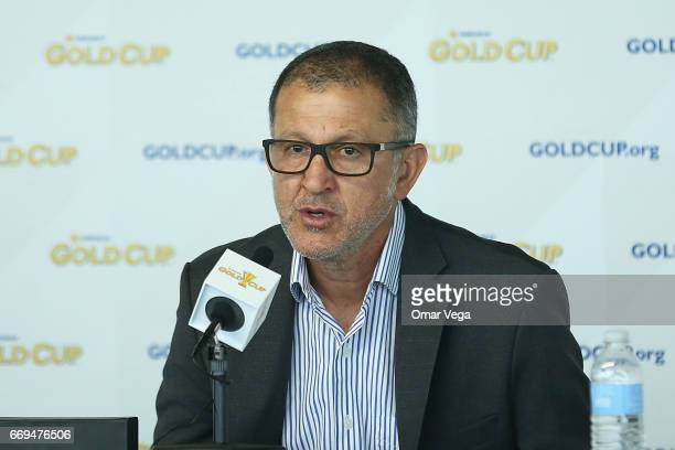 Juan Carlos Osorio coach of Mexico speaks during a press conference at Alamodome Stadium ahead of Gold Cup 2017 matches on April 17 2017 in San...