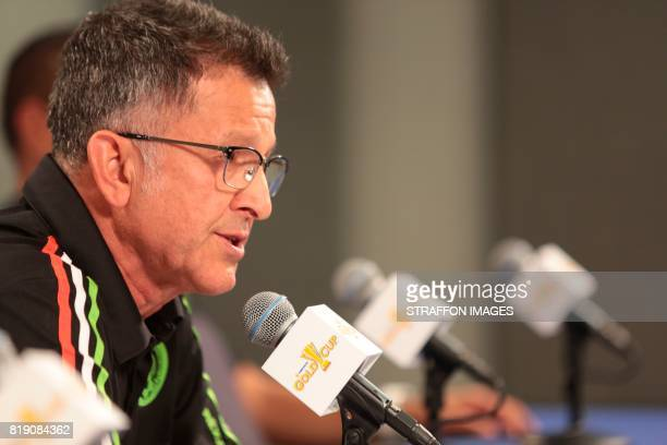 Juan Carlos Osorio coach of Mexico speaks during the Mexico National Team press conference at University Of Phoenix Stadium on July 19 2017 in...