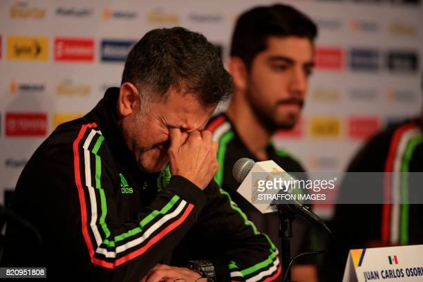 Juan Carlos Osorio coach of Mexico speaks during the Mexico National Team press conference at Rose Bowl Stadium on July 22 2017 in Pasadena California