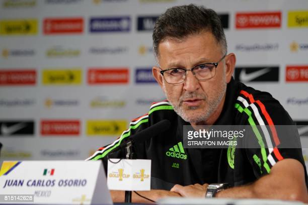 Juan Carlos Osorio coach of Mexico speaks to the media during a press conference ahead of Mexico's match against Curacao on July 15 2017 in San...