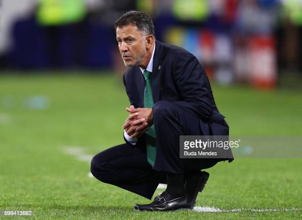 Juan Carlos Osorio head coach o Mexico looks on during the FIFA Confederations Cup Russia 2017 Group A match between Mexico and New Zealand at Fisht...