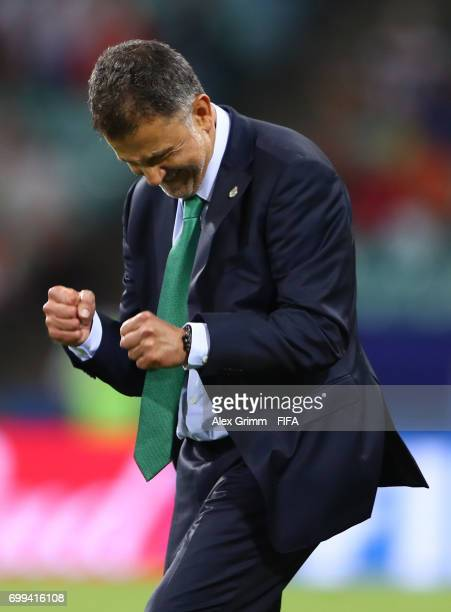 Juan Carlos Osorio head coach of Mexic celebrates after the FIFA Confederations Cup Russia 2017 Group A match between Mexico and New Zealand at Fisht...