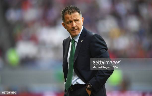 Juan Carlos Osorio head coach of Mexico looks on during the FIFA Confederations Cup Russia 2017 Group A match between Portugal and Mexico at Kazan...