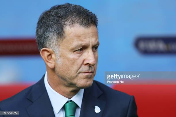 Juan Carlos Osorio head coach of Mexico looks prior to the FIFA Confederations Cup Russia 2017 Group A match between Portugal and Mexico at Kazan...