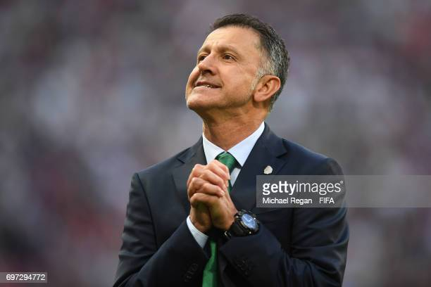 Juan Carlos Osorio head coach of Mexico reacts during the FIFA Confederations Cup Russia 2017 Group A match between Portugal and Mexico at Kazan...