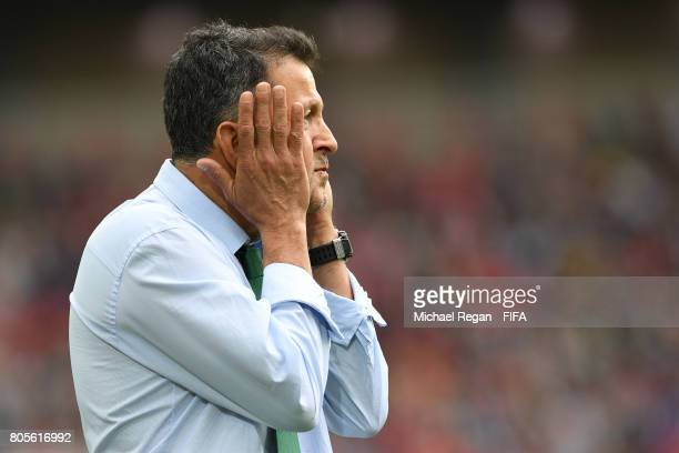Juan Carlos Osorio head coach of Mexico reacts during the FIFA Confederations Cup Russia 2017 PlayOff for Third Place between Portugal and Mexico at...