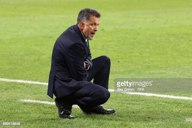 Juan Carlos Osorio head coach of Mexio looks on during the FIFA Confederations Cup Russia 2017 Group A match between Mexico and New Zealand at Fisht...