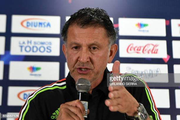 Juan Carlos Osorio the coach of Mexico's national football team answers questions from the press in San Pedro Sula 180 km north of Tegucigalpa on...