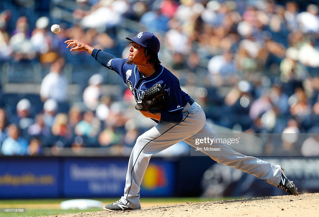 Juan Carlos Oviedo #46 of the Tampa Bay Rays in action against the New York Yankees at Yankee Stadium on July 2, 2014 in the Bronx borough of New York City. The Rays defeated the Yankees 6-3.