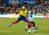 Juan Carlos Paredes of Ecuador against Marvin Chavez of Honduras during an international friendly match at BBVA Compass Stadium on November 19 2013...