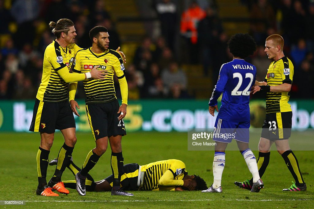 Juan Carlos Paredes of Watford lies on the pitch after a clash with Diego Costa of Chelsea during the Barclays Premier League match between Watford and Chelsea at Vicarage Road on February 3, 2016 in Watford, England.