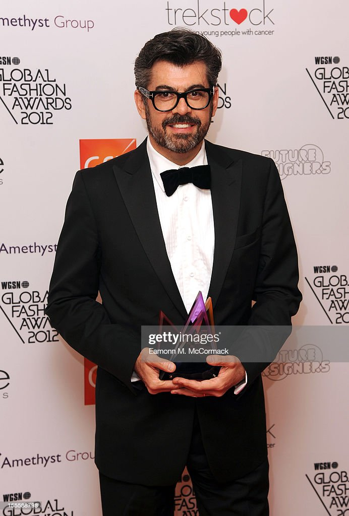 Juan Carlos Salcido with the Best Store award for El Palacio de Hierro in Mexico during the WGSN Global Fashion Awards at The Savoy Hotel on November 5, 2012 in London, England.