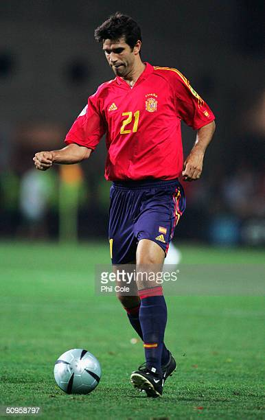 Juan Carlos Valeron of Spain in action during the Spain v Russia Group A match in the 2004 UEFA European Football Championships held at the Estadio...