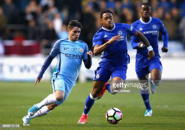 Juan Castillo of Chelsea is put under pressure from Brahim Diaz of Manchester City during the FA Youth Cup Final First Leg match between Manchester...