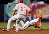 Juan Castro of the Philadelphia Phillies tosses the ball from his glove to Chase Utley that started a double play that ended the third inning of...