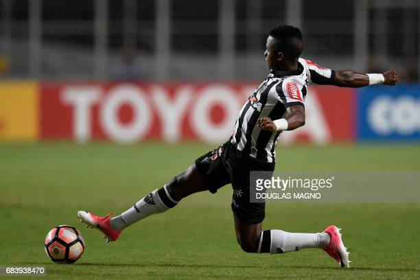 Juan Cazares of Brazil's Atletico Mineiro controls the ball during a 2017 Copa Libertadores football match against Argentina's Godoy Cruz at the...