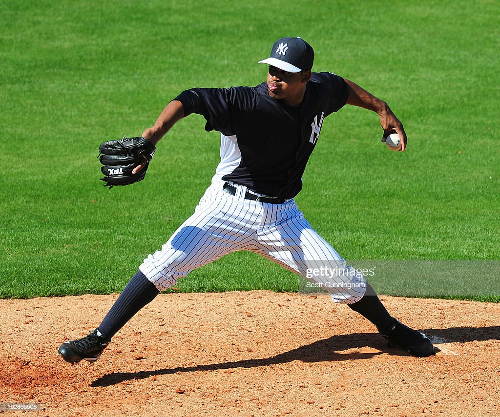 Juan Cedeno #88 of the New York Yankees pitches during the spring training game against the Toronto Blue Jays at George M. Steinbrenner Field on February 28, 2013 in Tampa, Florida.