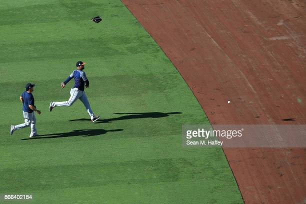 Juan Centeno and Francisco Liriano of the Houston Astros warm up prior to game two of the 2017 World Series against the Los Angeles Dodgers at Dodger...