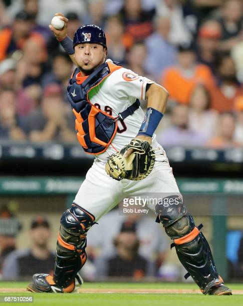 Juan Centeno of the Houston Astros throws out Jose Iglesias of the Detroit Tigers in the seventh inning at Minute Maid Park on May 23 2017 in Houston...
