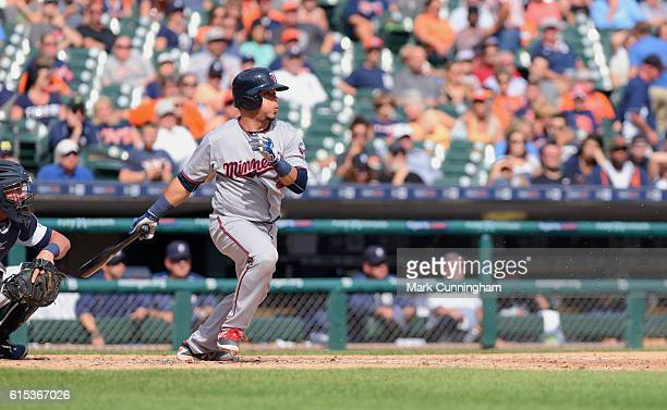 Juan Centeno of the Minnesota Twins bats during the game against the Detroit Tigers at Comerica Park on September 15 2016 in Detroit Michigan The...