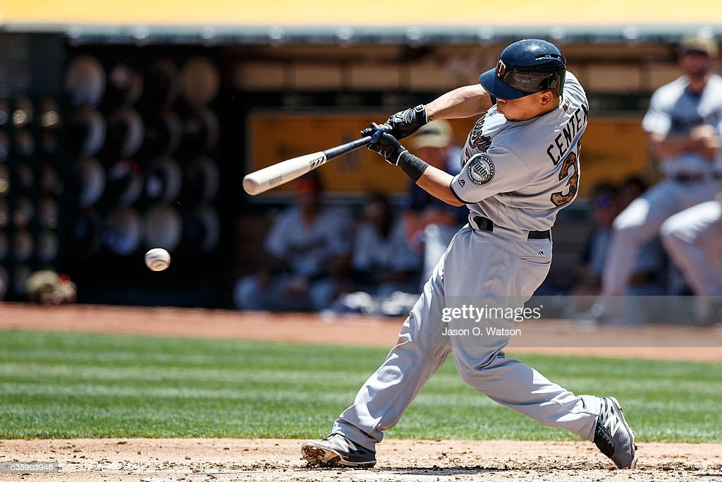 Juan Centeno #37 of the Minnesota Twins hits an RBI single against the Oakland Athletics during the second inning at the Oakland Coliseum on May 30, 2016 in Oakland, California.