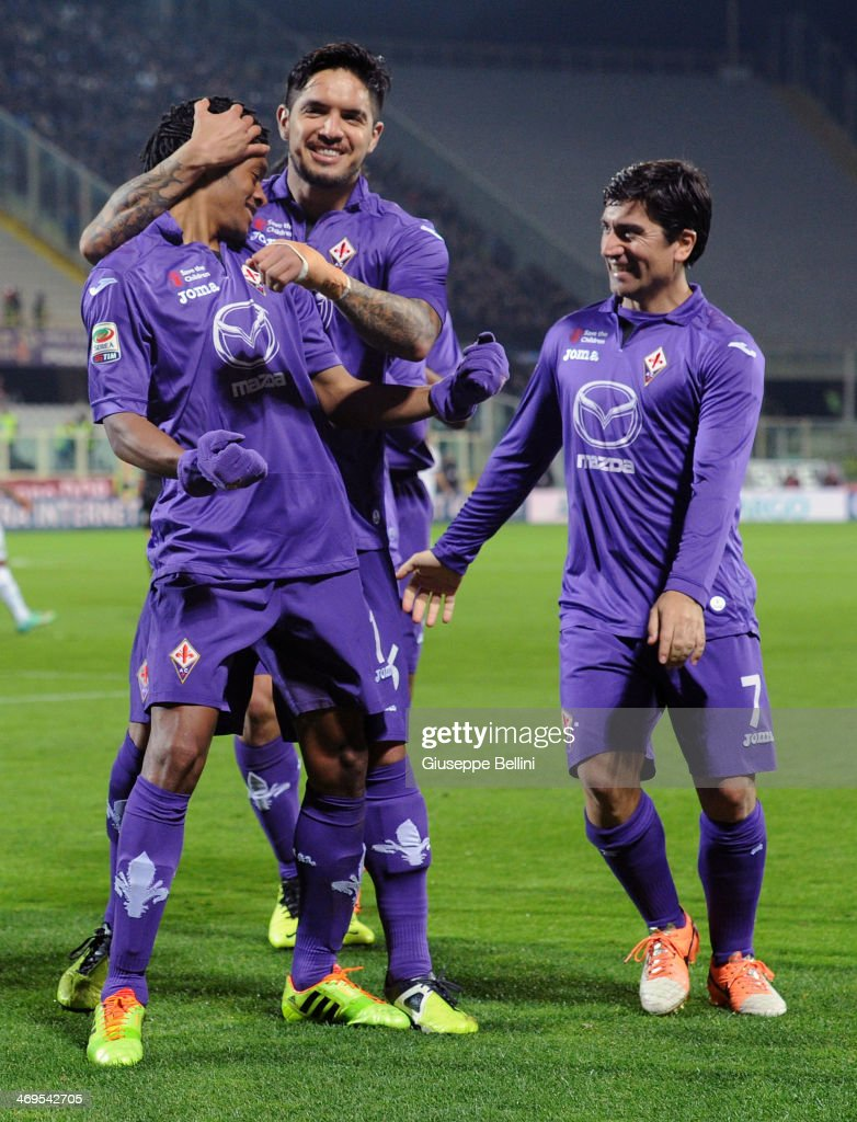Juan Cuadado of Fiorentina celebrates after scoring the goal 1-1 during the Serie A match between ACF Fiorentina and FC Internazionale Milano at Stadio Artemio Franchi on February 15, 2014 in Florence, Italy.