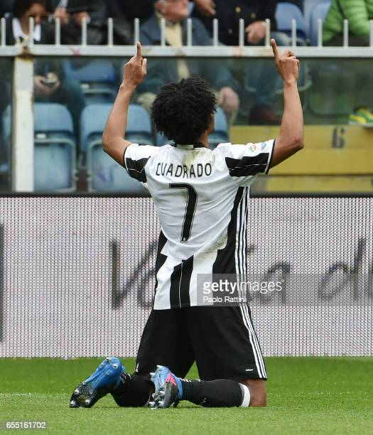 Juan Cuadrado celebrate after score 01 during the Serie A match between UC Sampdoria and Juventus FC at Stadio Luigi Ferraris on March 19 2017 in...