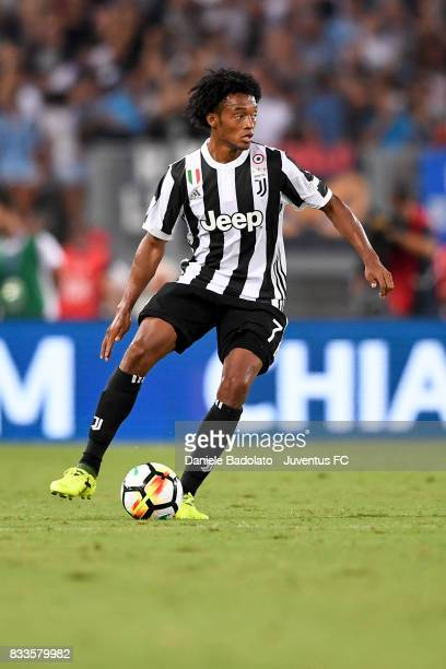 Juan Cuadrado during the Italian Supercup match between Juventus and SS Lazio at Stadio Olimpico on August 13 2017 in Rome Italy