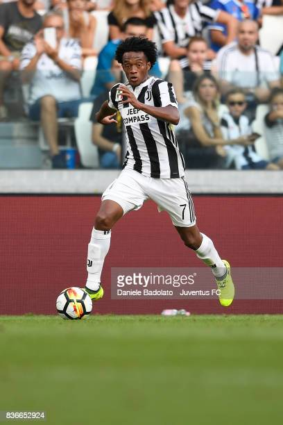 Juan Cuadrado during the Serie A match between Juventus and Cagliari Calcio at Allianz Stadium on August 19 2017 in Turin Italy