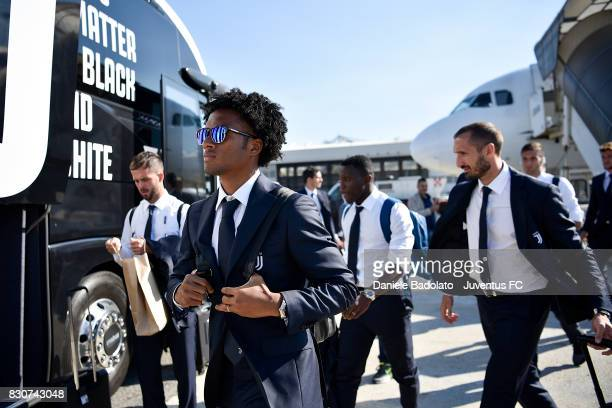 Juan Cuadrado during the travel to Rome ahead of the Italian Supercup at on August 12 2017 in Turin Italy
