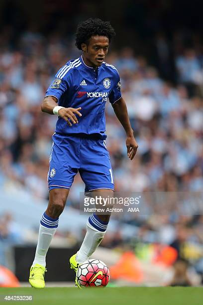 Juan Cuadrado of Chelsea during the Barclays Premier League match between Manchester City and Chelsea at the Etihad Stadium on August 16 2015 in...