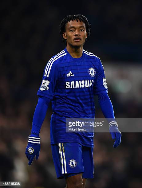 Juan Cuadrado of Chelsea in action during the Barclays Premier League match between Chelsea and Everton at Stamford Bridge on February 11 2015 in...