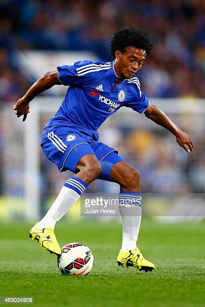 Juan Cuadrado of Chelsea in action during the Pre Season Friendly match between Chelsea and Fiorentina at Stamford Bridge on August 5 2015 in London...