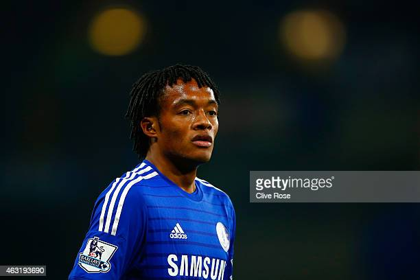 Juan Cuadrado of Chelsea looks on during the Barclays Premier League match between Chelsea and Everton at Stamford Bridge on February 11 2015 in...