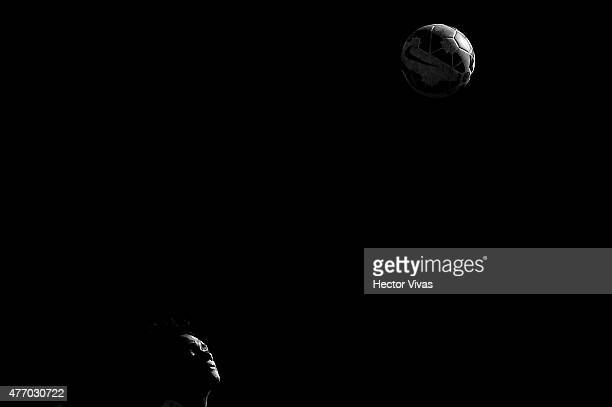 Juan Cuadrado of Colombia drives the ball during a training session at San Carlos de Apoquindo training camp on June 13 2015 in Santiago Chile...