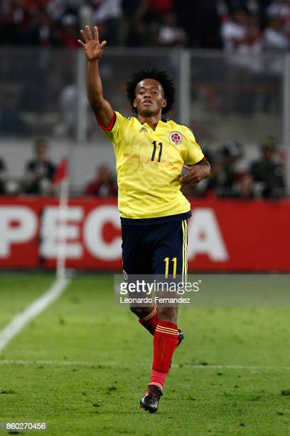 Juan Cuadrado of Colombia gestures during match between Peru and Colombia as part of FIFA 2018 World Cup Qualifiers at National Stadium on October 10...