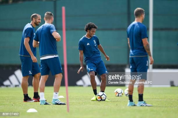 Juan Cuadrado of Juventus during a training session on August 9 2017 in Vinovo Italy