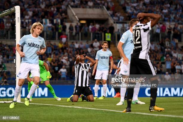 Juan Cuadrado of Juventus during the Italian Supercup match between Juventus and SS Lazio at Stadio Olimpico on August 13 2017 in Rome Italy