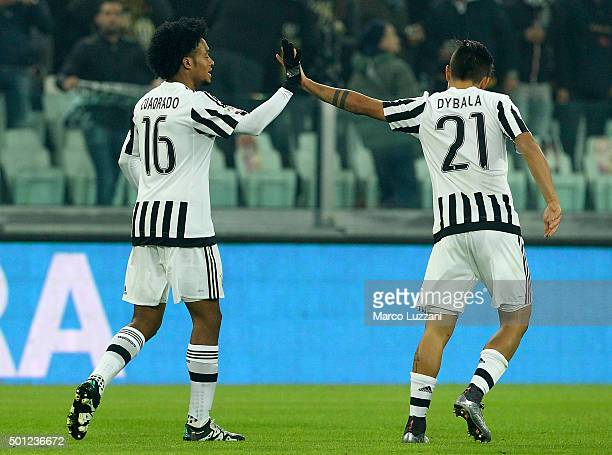 Juan Cuadrado of Juventus FC celebrates his goal with his teammate Paulo Dybala during the Serie A match betweeen Juventus FC and ACF Fiorentina at...