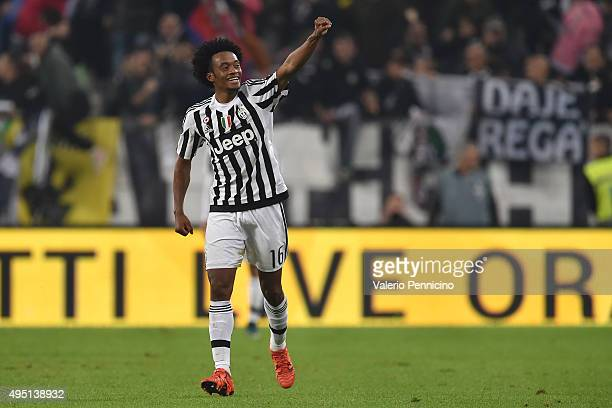 Juan Cuadrado of Juventus FC celebrates the gol of the victory during the Serie A match between Juventus FC and Torino FC at Juventus Arena on...