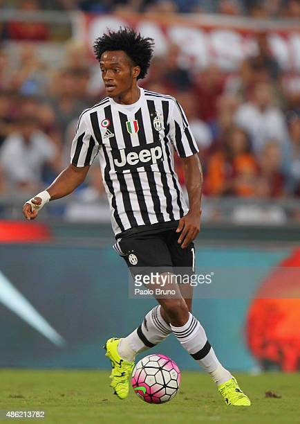 Juan Cuadrado of Juventus FC in action during the Serie A match between AS Roma and Juventus FC at Stadio Olimpico on August 30 2015 in Rome Italy